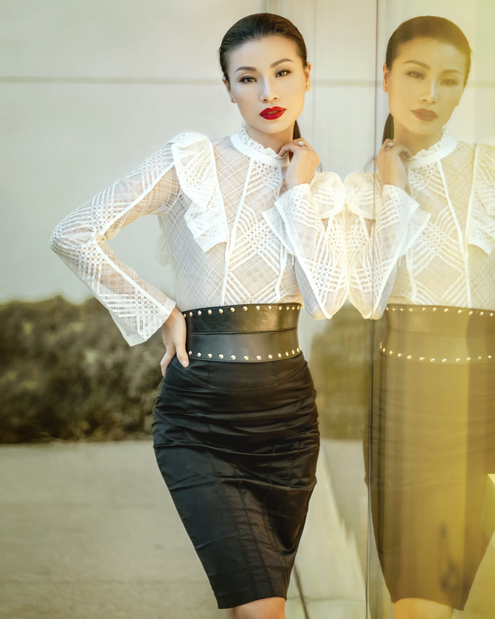 timeless look lace top pencil skirt mingalings