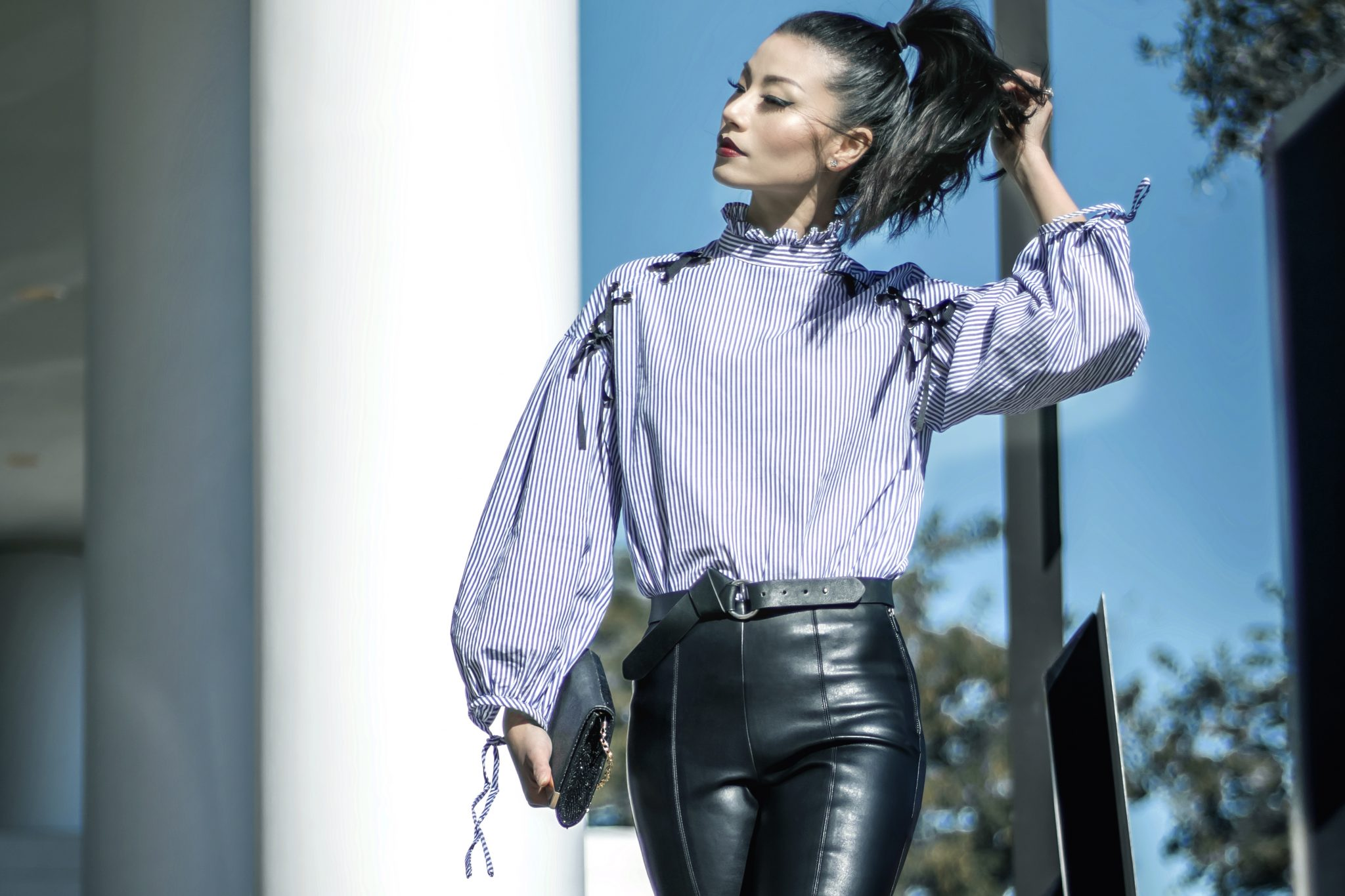 Lace-Up Striped Blouse & Leather Leggings